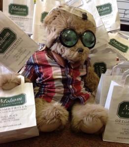 Sydney the teddy bear ready to go on a school visit